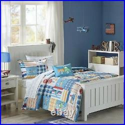 Beautiful Boys Car Truck Train Airplane Plaid Blue Red Comforter Set & Sheets