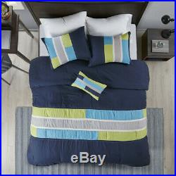 Beautiful Modern Cozy Soft Grey Navy Aqua Blue Green Boy Stripe Comforter Set
