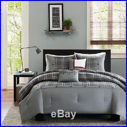Beautiful Modern Grey Black Red White Plaid Stripe Boys Comforter Set & Pillows