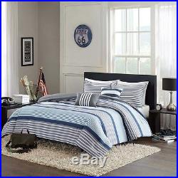 Beautiful Modern Grey Blue White Stripe Boys Comforter Set Full Queen Twin & XL