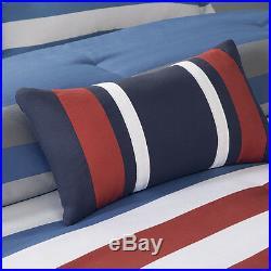 Beautiful Modern Red Grey White Blue Stripe Chevron Boys Comforter Set & Pillow