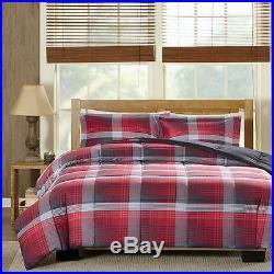 Beautiful Modern Ultra Soft Red Grey Stripe Plaid Cozy Cabin Boys Comforter Set