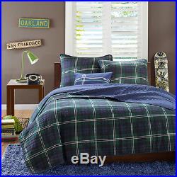 Beautiful Reversible Classic Blue Green Plaid Stripe Boys Quilt Set & Pillow New