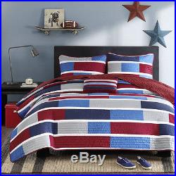 Beautiful Sporty Red Blue White Grey Stripe Block Boys Soft Quilt Set & Pillow