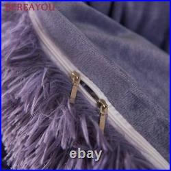 Bedding Plush Duvet Cover Bed Skirt Solid Gray Bed Linen For Boys Kids Twin King