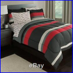 Black Gray Red Stripes Boys Teen Twin Comforter Set (5 Piece Bed In A Bag)