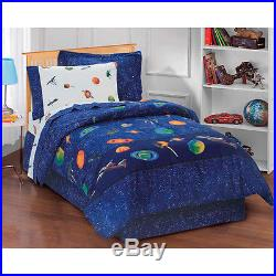 Blue Space Stars Planets Boys Bed In A Bag Comforter Set & Sheets Twin, Full