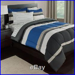 Blue, White & Gray Stripes Boys Teen Twin Comforter Set (5 Piece Bed In A Bag)