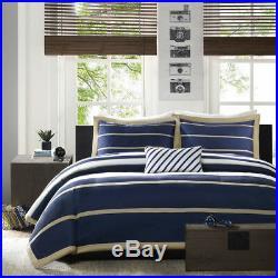 Blue White Navy Khaki Sporty Boys Stripe Duvet Cover Set & Shams & Pillow New