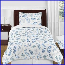 Blue White Sweet Jojo Tropical Floral Leaf Boy Girl Twin Bedding Comforter Set
