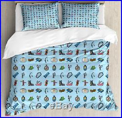 Boy Scout Duvet Cover Set with Pillow Shams Camp Equipment Hiking Print