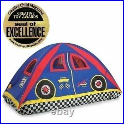 Boys Bed Tent Twin Full Blue Red Race Car Racing Checker Dome Canopy Play House