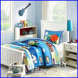 Boys Construction Fire Truck Train Police Plane White Blue Soft Comforter Set
