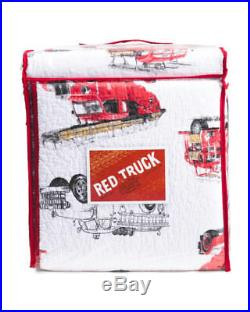 Boys FIRETRUCK 2pc TWIN Quilt Sham BEDDING SET Red Black FIRE TRUCK Cotton NWT