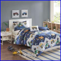 Boys Monster Truck Construction Cars Blue Green Orange Soft Comforter Set Twin