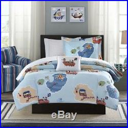 Boys Pirate Themed Treasure Map Ultra Soft Blue Complete Comforter Set + Sheets