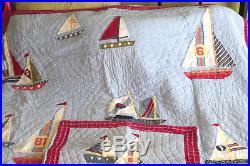 Boys Pottery Barn Ya Gotta Regatta Sailboat Sail Boat Twin Quilt & Pilllow Sham
