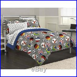 Boys Soccer Sports Bed In Bag Red Blue White Grey Comforter Set Full & Twin Szs