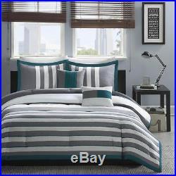 Boys Teen Gray Grey Teal Ivory Cozy Stripe Comforter Bedding Set Twin Full Queen