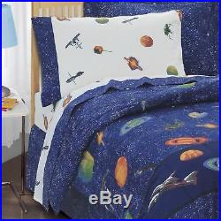 Boys Twin Full Bed Bag Blue Outer Space Stars 8 pc Comforter Sheet Set Bedding