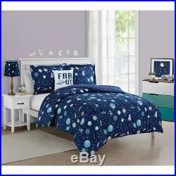 Boys Twin Full Bed Navy Blue Space Ship Stars Planets Rockets 5 pc Comforter Set