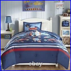 Boys Twin Full Queen Bed Blue Space Ship Stars Aliens Rocket 4 pc Comforter Set