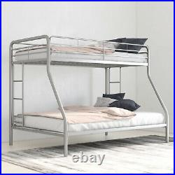Bunk Beds Twin over Full Kids Girls Boys Bed Teens Dorm Bedroom Furniture Silver