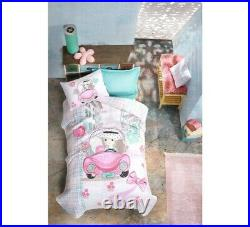 Bus Bedding Set Flamingo 100% Cotton Duvet Cover Set Twin Size Boys Bed Set