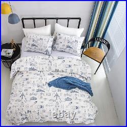 CLOTHKNOW Boys Kids Comforter Sets Twin Cotton Cars Bedding Comforter Set Child