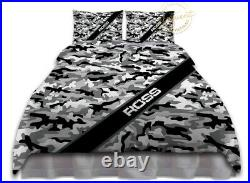 Camo Comforter Set, Black & Grey Camouflage Bedding, Custom Army Military Boys