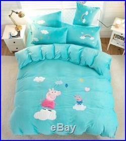 Cartoons Pig Scratching Cat Panda Fleece Soft Duvet Cover Bedding Set Kids UPS