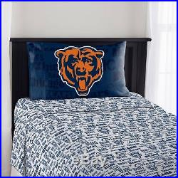 Chicago Bears Sheet Set NFL Twin Bed Fitted Flat Sheets Boys Team Bedding