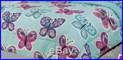 Comforter Girls Kids 6 piece Blue Butterfly Bed In A Bag Flat Fitted Sheets Twin