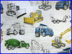 Construction 6PC TWIN Quilt Coverlet SHEETS Sham BULLDOZER TRACTOR DUMP TRUCK