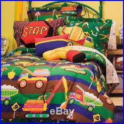 Construction Toys Dump Trucks Bulldozers Boy Twin Comforter Set 6Pc Bed In A Bag
