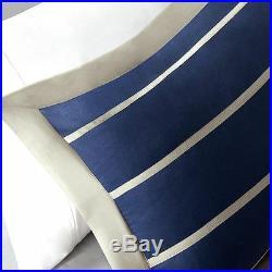 Cozy Blue Navy White Khaki Beige Tan Chevron Sport Stripe Boy Soft Comforter Set