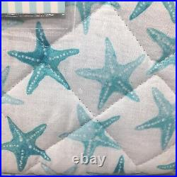 Cynthia Rowley Starfish TWIN Reversible Quilt Striped Ocean Beach Turquoise Teal