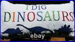 DINOSAUR 7pc TWIN COMFORTER PILLOWS Sheets Sham DINOSAURS RED BLUE GREEN