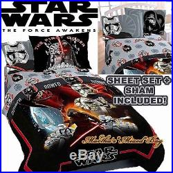 DISNEY STAR WARS EPISODE VII Boy Twin Size LICENSED Comforter Set+SHAM+Sheet Set