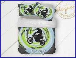 Dirt Bike Comforter Set, Motocross Bedding, Room Decor for Boys Room, Gifts