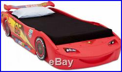 Disney Cars Lightning McQueen Twin Bed with Lights Bedroom Toy Boys Race Car