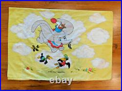 Disney Dumbo Sheet Set Twin Sized Flat Fitted Pillowcase Vintage Circus Rare 3pc