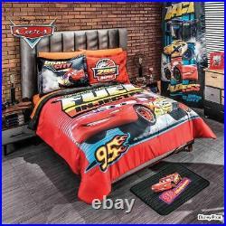 Disney Pixar Cars Lightning McQueen Boys Reversible Comforter Set in Cotton Feel
