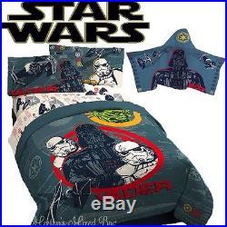 Disney STAR WARS DARTH VADER BOYS Gray Twin/Full Sizes COMFORTER SET+HOOD TOWEL