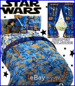 Disney STAR WARS'REBELS FIGHT' Boys Twin/Full Size Blue Comforter Set+Drape Set