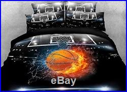 Duvet Cover Set Boys Bedding 100% Cotton Twin Sz 3D Basketball Sports Bed Spread