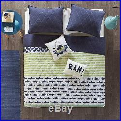 Finn Twin/Twin Xl Bedding Sets Boys Quilt Set Green, Navy, Shark Stripe Ð 4