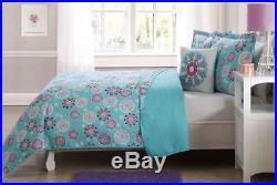 Flower Flakes 4 Pcs Twin / Full Size Kids Boys Girls Quilt / Shams / Cushion Set