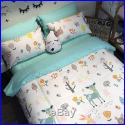 Forest Animals Bedding Set Duvet Cover Girls Boys Twin & Queen Cartoon Sheet Kid