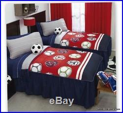 Futbol Soccer Comforter Bedding Bedroom Bedspread Sheets Sports TWIN/IND 4PC Boy
